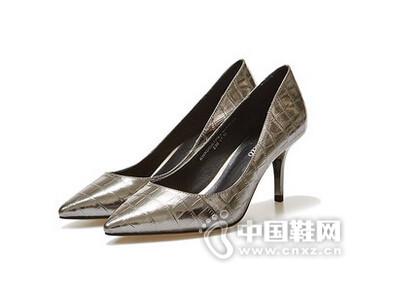 卡美多2016石头纹牛皮女鞋