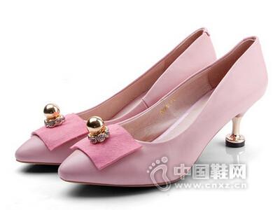 牧羊女2016真皮高跟鞋细跟尖头鞋