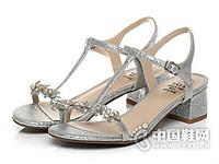 Tata/他她2017夏季亮片布水钻花朵粗跟女凉鞋