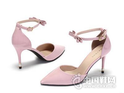 Daphne/达芙妮2017性感尖头蝴蝶结一字扣超高跟女鞋