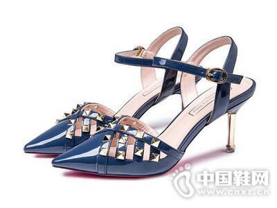 尼2017夏季凉鞋女细跟尖头一字扣带铆钉女鞋-欧意女鞋加盟 中国鞋网