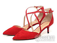 思加图2017绑带尖头细跟时尚女鞋