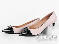真美诗2017优雅蝴蝶结低跟女单鞋