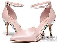 红蜻蜓2017羊皮细高跟鞋优雅尖头女单鞋