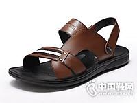 富贵鸟男鞋2017夏真皮休闲男士凉拖鞋