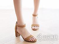 富贵鸟女鞋2017夏方跟中跟韩版百搭包跟反绒女鞋
