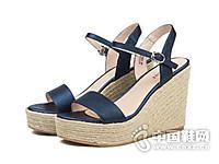 星期六2017夏荔枝纹牛皮高跟一字带女凉鞋