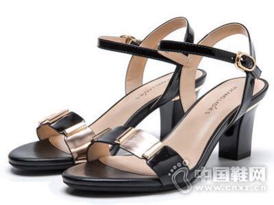 奥康2017夏圆头露趾时尚高跟鞋单鞋