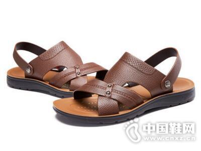 奥康2017夏男士青年牛皮防滑凉拖鞋