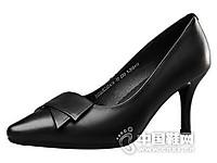 意尔康2017真皮通勤黑色女士单鞋