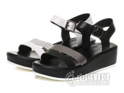 拔佳2017夏季时尚拼色休闲坡跟女鞋
