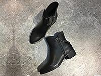 易美17秋冬新款圆头粗跟流苏牛皮拉链女短靴