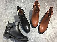 易美17秋冬新款皮带扣粗跟马丁靴