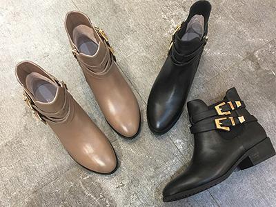 易美17秋冬新款双皮带扣牛皮马丁靴