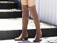 百丽2017冬过膝靴弹力布低跟高筒女长靴