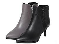他她2017冬牛皮时尚拉链尖头鞋粗高跟女短靴