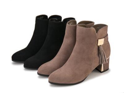 鞋柜2017冬绒面侧拉链流苏女鞋