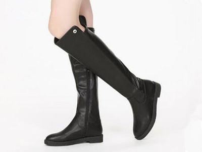 鞋柜2017冬扣饰低跟高筒靴