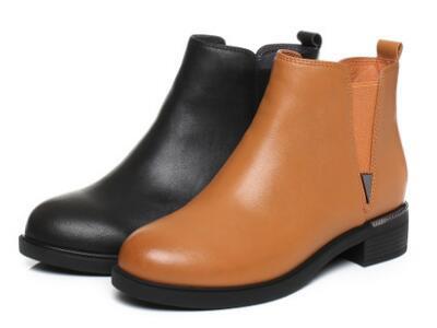 森达2017冬时尚牛皮女短靴韩版切尔西靴