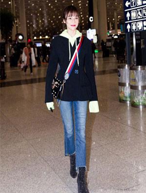 袁姗姗越来越会穿 最新机场私服穿搭好看到忍不住路转粉