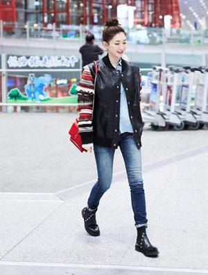江疏影亮相北京首都机场 时髦又率性利落又帅气