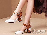 欧维思女鞋2018后空小粗跟单鞋新款