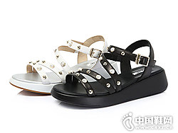 圣伽步男女鞋2018新款女坡跟凉鞋