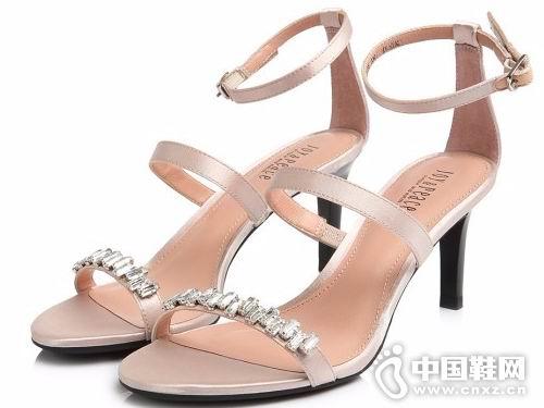 真美诗2018女鞋新款高跟凉鞋