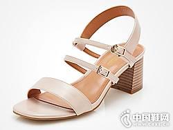 富贵鸟男女皮鞋2018新款女粗跟凉鞋