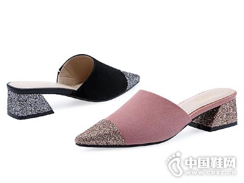 哈森女鞋2018新款尖头后空凉鞋