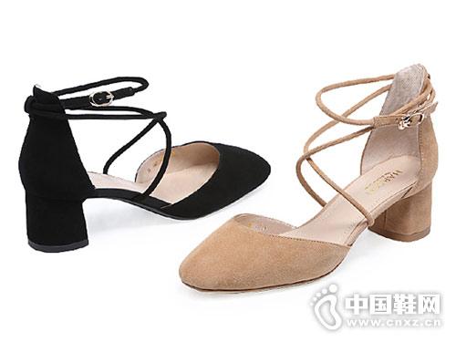 哈森女鞋2018新款中空凉鞋