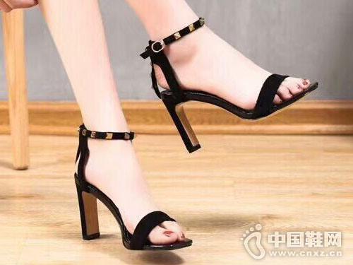 丹路姿女鞋2018新款中空高跟单鞋