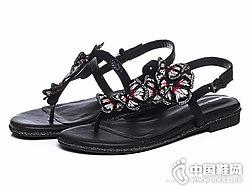 妙丽女鞋2018新款平底凉鞋