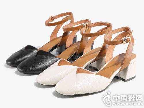 色非女鞋2018新款后空单鞋