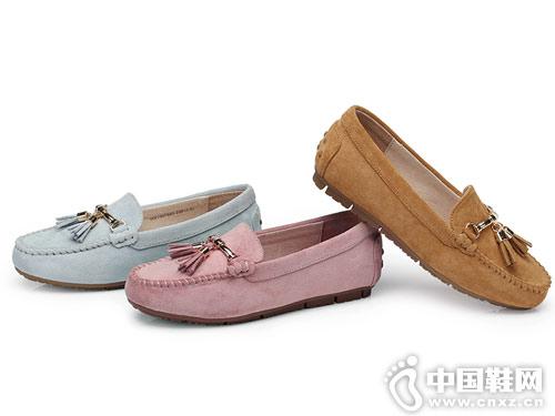 骆驼牌男女鞋2018新款女豆豆鞋