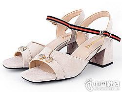 洛曼琪女鞋2018新款粗跟凉鞋
