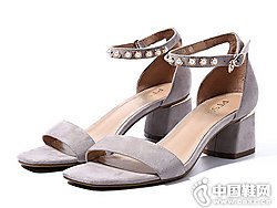 百田森女鞋2018新款小粗跟凉鞋