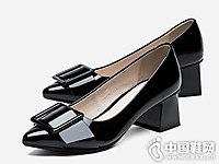 汤普葛罗女鞋2018新款粗跟单鞋
