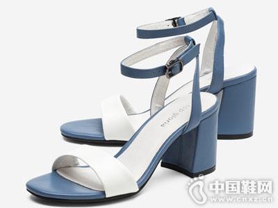 汤普葛罗女鞋2018新款粗跟凉鞋
