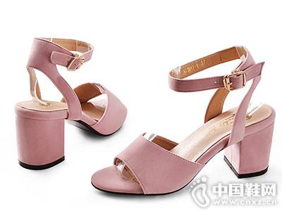 琪可朵女鞋2018新款粗跟�涡�