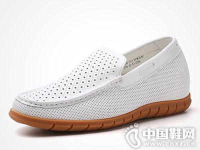 何金昌内增高鞋2018新款镂空豆豆鞋