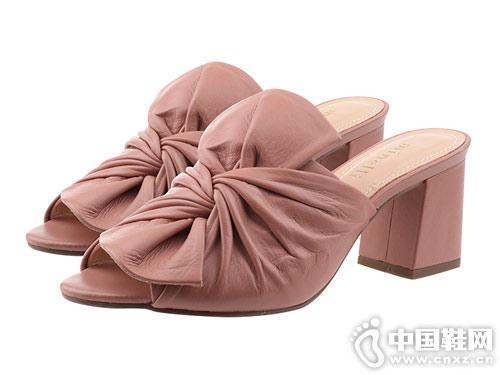 minelli女鞋2018新款粗跟涼拖鞋