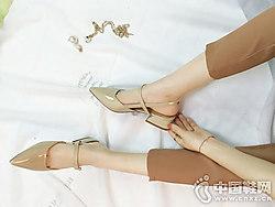 红砂女鞋2018新款后空单鞋