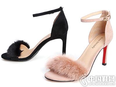 自由姿色女鞋2018新款高跟凉鞋