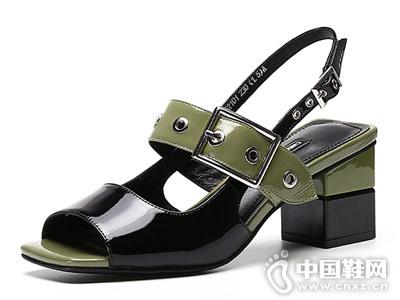 城市丽人女鞋2018新款粗跟凉鞋