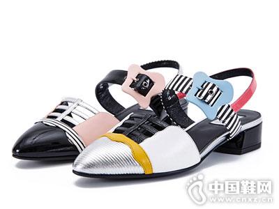 卡文女鞋2018新款粗跟凉鞋_卡文cover_哈森商贸(中国)图片