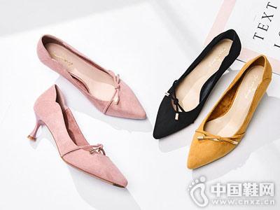 卓诗尼单鞋女2018秋季新款纯色绒面中跟