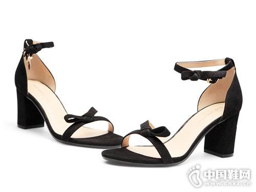 fed2018新款蝴蝶结一字高跟鞋粗跟