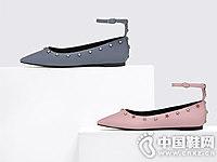 CHARLES&KEITH半宝石腕带装饰纯色平底鞋