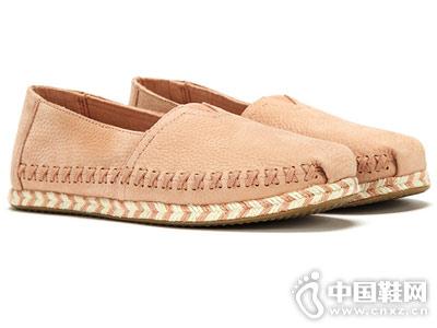 TOMS女鞋ALPA牛皮套脚绳编底平底鞋18新款